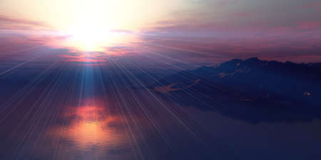 above islands in sea sunset, illustration 3d rendering