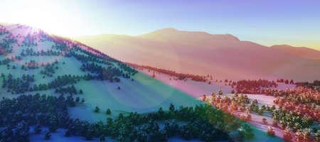 above winter forest mountain sunset 3D rendering illustration Stockfoto