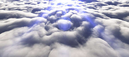 above clouds sun ray 3d render illustration Stockfoto