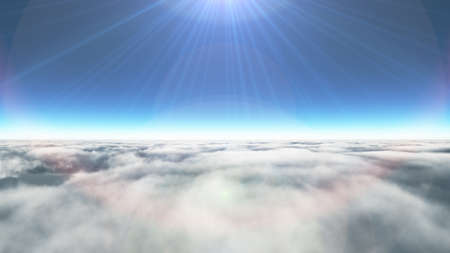 Above clouds sun ray, 3d rendering illustration Stockfoto
