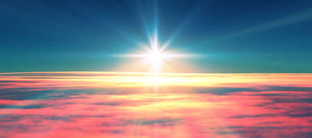above clouds fly sunset sun ray illustration, 3d render Stockfoto