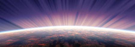 sunrise from space aurora, 3d rendering illustration Stockfoto