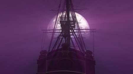 old ship in sea full moon illustration 3d rendering