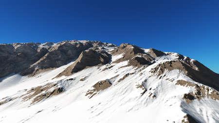 mountain snow sun ray illustration, 3d rendering