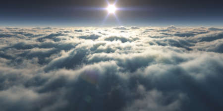 dream fly above clouds ray light, 3d rendering illustration