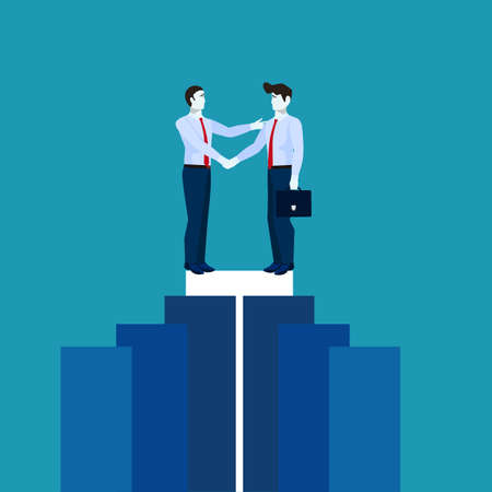 Agreement. Business people saying team. Two businessmen handshake  イラスト・ベクター素材