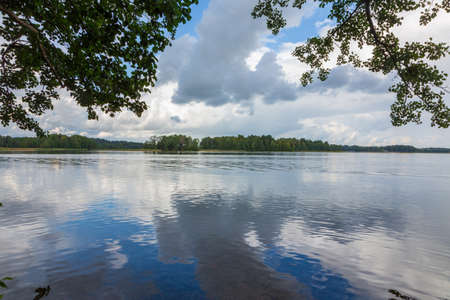 Peaceful lake in summer under stormy sky,Vilnius Region, Lithuania, Europe