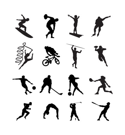 conducted: The people are engaged in different kinds of sports. A vector illustration. Illustration