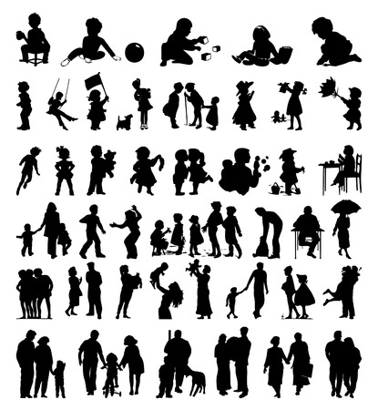 silhouettes of children: Silhouettes of a family and children it is black colours. A vector illustration Illustration
