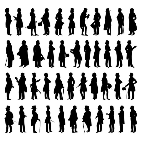sir: Silhouettes of men in suits. A vector illustration