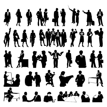 business conference: Black silhouettes of businessmen. A vector illustration