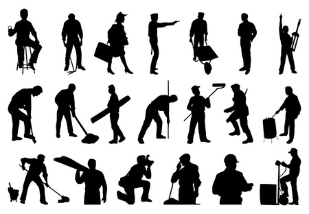 Silhouettes of working people. A vector illustration Stock Vector - 6350241