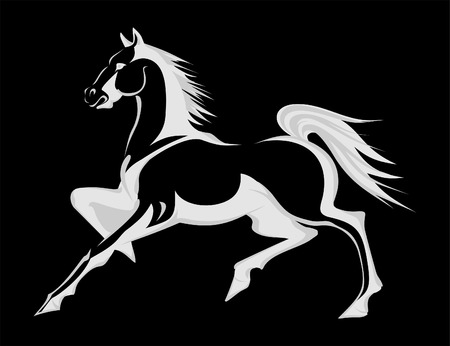 wild: Silhouette of a running horse. A vector illustration Illustration