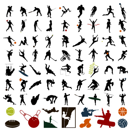 spear: Silhouettes of sportsmen of black colour. An illustration