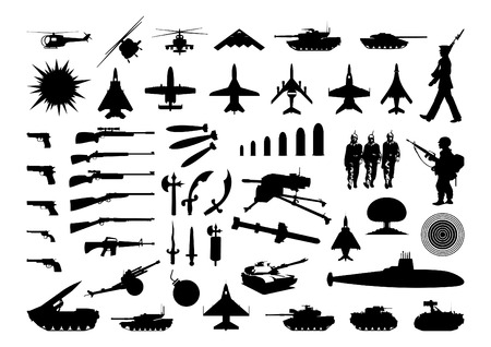 Silhouettes of the various weapon and engineering. A vector illustration Stock Vector - 6514382