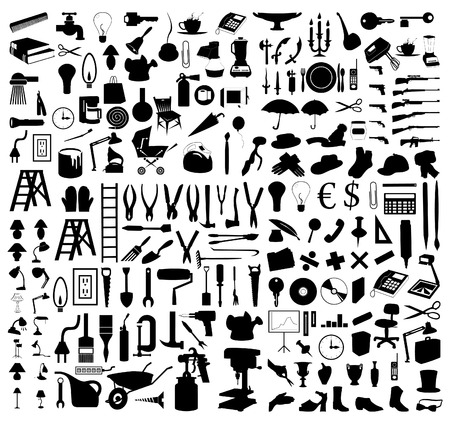 computer socket: Silhouettes of various subjects and tools.