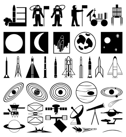 moon rover: Thematic collection of silhouettes of space.
