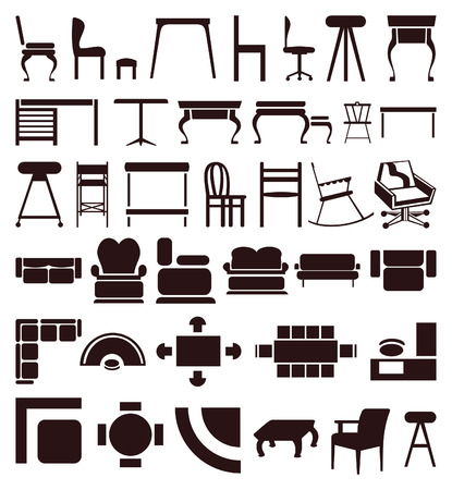 Icons of furniture of brown colour. illustration