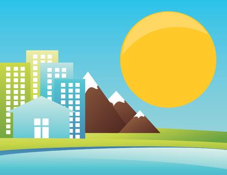 seacoast: City in mountains on seacoast. An illustration