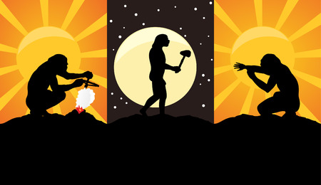 Situations from a life of primitive people. An illustration Vector