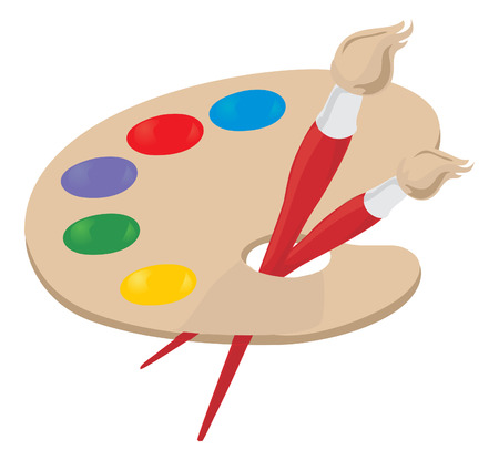 dab: Palette of the artist and brush