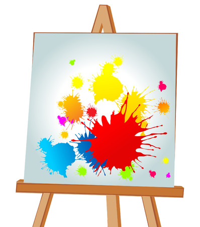 Multi-coloured blots on an easel. illustration Stock Vector - 8055786