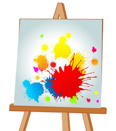artist's canvas: Multi-coloured blots on an easel. illustration