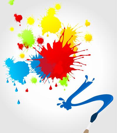 dab: Brush multi-coloured blots on a paper.illustration