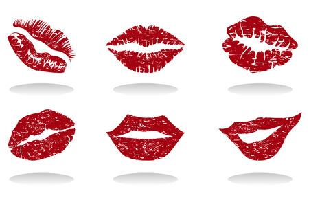 claret red: Colecci�n de labios femeninos de forma diferente. Una ilustraci�n  Vectores