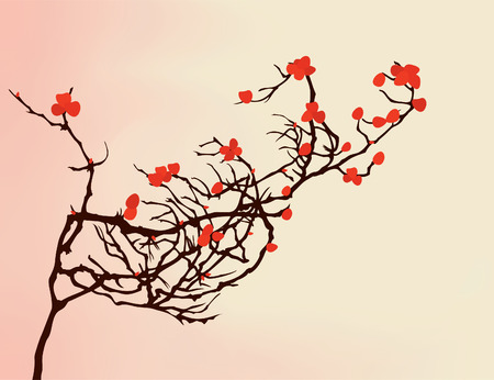The bush branch is covered by red flowers  Vector