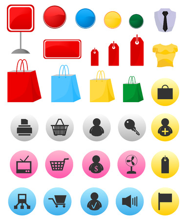 Icons on a theme shop and sales. A vector illustration Vector