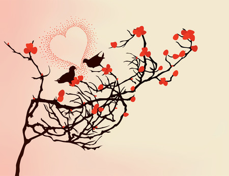 Enamoured birds on a branch. A vector illustration Stock Vector - 8292847