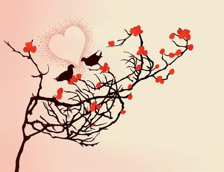 Enamoured birds on a branch. A vector illustration Stock Vector - 8292847