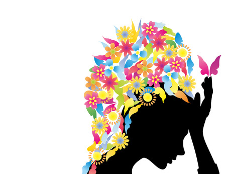 thoughtfulness: The girl with a hairdress from butterflies and flowers. A vector illustration