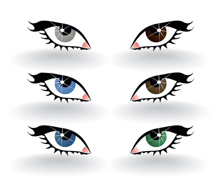 Icons of a human eye of six colours. A vector illustration Stock Vector - 8421260