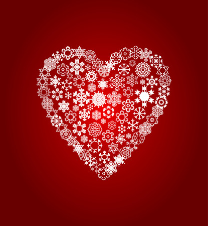 stoned: Heart from white snowflakes on a red background. A vector illustration