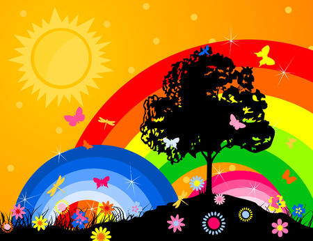Silhouette of a tree against a rainbow and the bright sky.  illustration Vector
