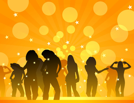 Girls dance in a disco.  illustration Vector