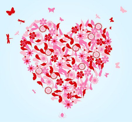 stoned: Heart from flowers and butterflies. A vector illustration Illustration