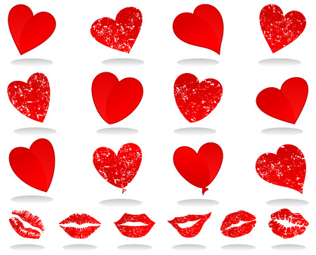 Set of icons of red hearts. A Vector illustration Vector