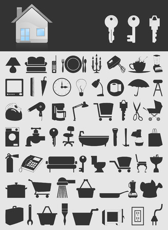 toilet bowl: Set of icons on a theme the house.illustration