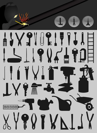 Set of icons on a theme tools.illustration Vector