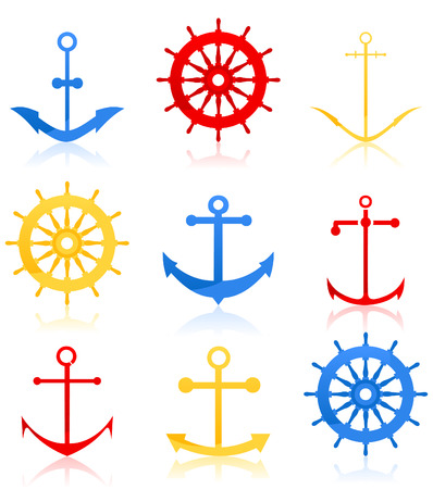 rudder ship: Set of icons on a sea theme. Illustration Illustration