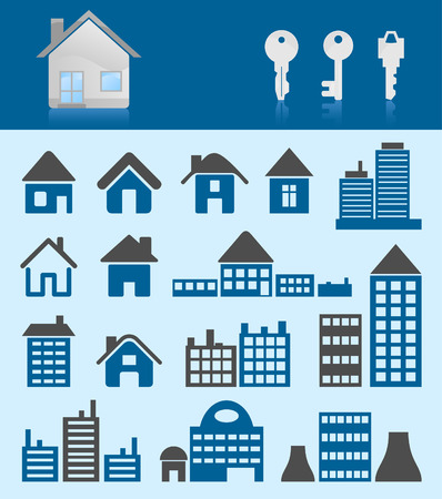 Set of icons of houses.   illustration Stock Vector - 8569322