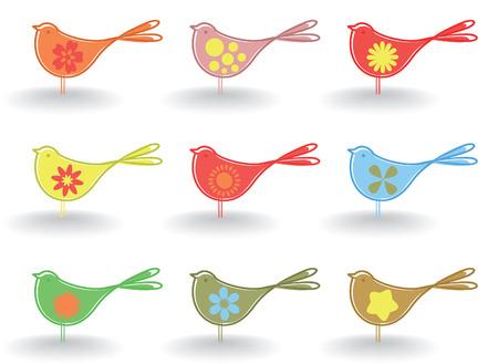Set of small cheerful birdies. A Vector illustration Vector