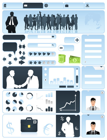 Business a site in dark blue tones. A Vector illustration Illustration