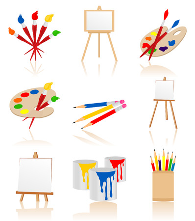 Set of icons for the artist. A Vector illustration Stock Vector - 8677605