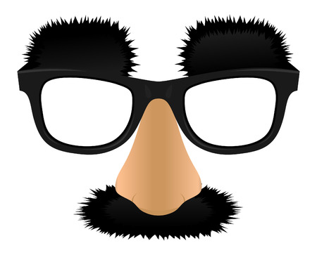 cartoon nose: Unprofitable a nose mustaches and eyebrows. A Vector illustration