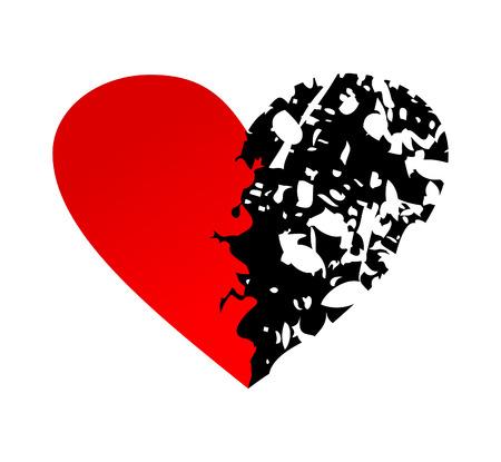 Heart broken into half.  Stock Vector - 8789218