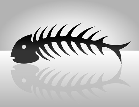 skeleton fish: The fish bone of black colour.  Illustration